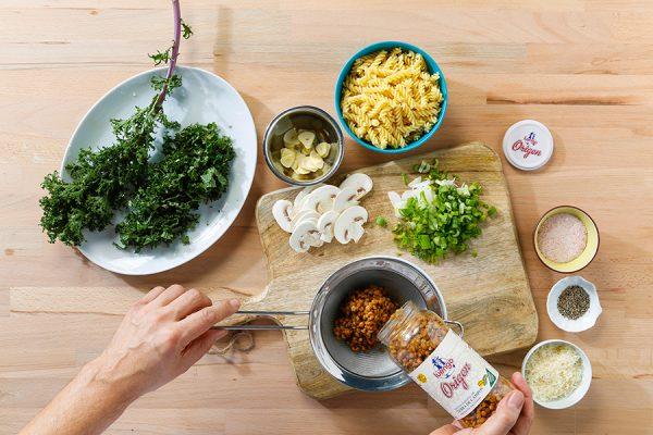 Receta con lentejas pasta con kale